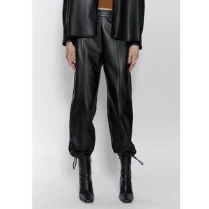 ZARA high waist leather jogger pants S